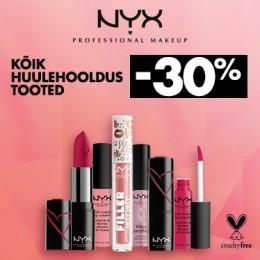 NYX Cosmetics lūpu produktiem -30%