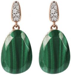 Bronzallure Preziosa Earrings with Natural Stone Rose Gold/Malachite + White Cz