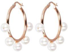 Bronzallure White Pearls Hoop Earrings