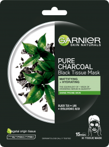 Garnier Skin Naturals Pure Charcoal Black Tissue Mask Black Tea Leaves