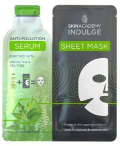 Skin Academy Indulge Serum Sheet Mask Anti-pollution 1 Dry Sheet Mask + Serum (25mL)