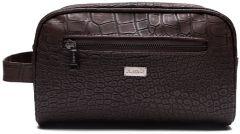 JJDK Cosmetic Bag Aksel Big Dark Brown Croco PU (25x16x12) 61240
