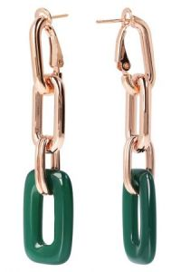 Bronzallure Variegata Shiny Oval Dangle Earrings With Gemstone Rose Gold/Green Agate
