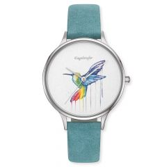 Engelsrufer Watch Paradise Colibri Silver Leather Strap Turquoise