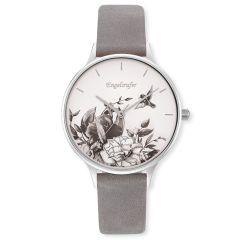Engelsrufer Watch Flower Silver Nubuck Leather Strap Grey