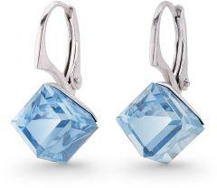 Spark Silver Jewelry Earrings Cube Aquamarine