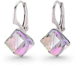 Spark Silver Jewelry Earrings Cube Vitrail Light Color