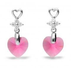 Spark Silver Jewelry Earrings Petite Heart Rose