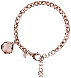 Bronzallure Four Leaf Clover Charm Chain Bracelett Pink Mop