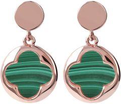 Bronzallure Four Leaf Clover Dangle Earrings Green Malachite