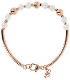 Bronzallure Semi-Rigid Pearl Bracelet White Pearl