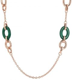 Bronzallure Long Necklace with Natural Stone Links GR Agate