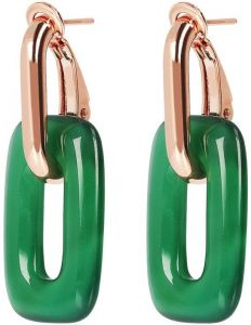 Bronzallure Chain Earrings 2 in 1 Green Agate